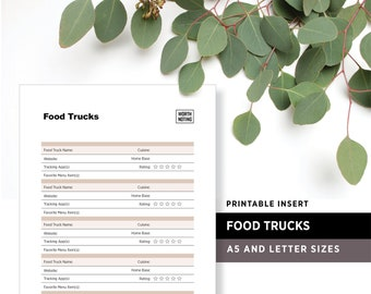 Food Truck Tracker and Log • Printable Insert • Adventure Tracker • Digital Download • Bucket List • Worth Noting Journal • A5 + Letter Size