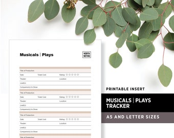 Musicals and Plays Worth Noting • Tracker and Memory Log • A5 + Letter Sizes • Printable Planner Insert • Adventure Tracker • Bucket List