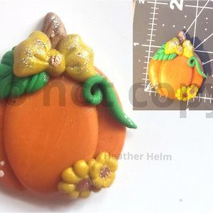 Flatback for bow center Polymer clay cute orange pumpkin center to match outfit necklace charm scrapbooking craft supplies