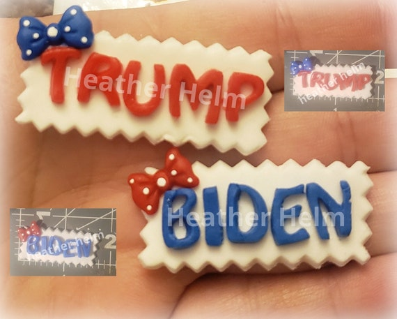 American pride necklace Polymer clay USA nameplate Biden.Flatback for bow center Nameplate Trump voting bow center to match outfit