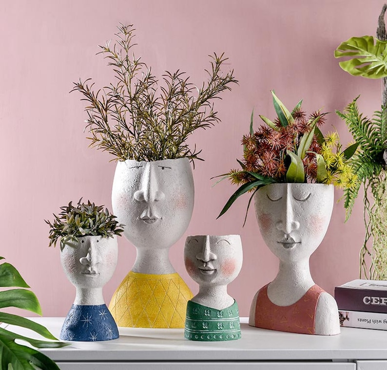 Family Plant Pot Face Planter Indoor Dried Flowers Vase One Set(4)