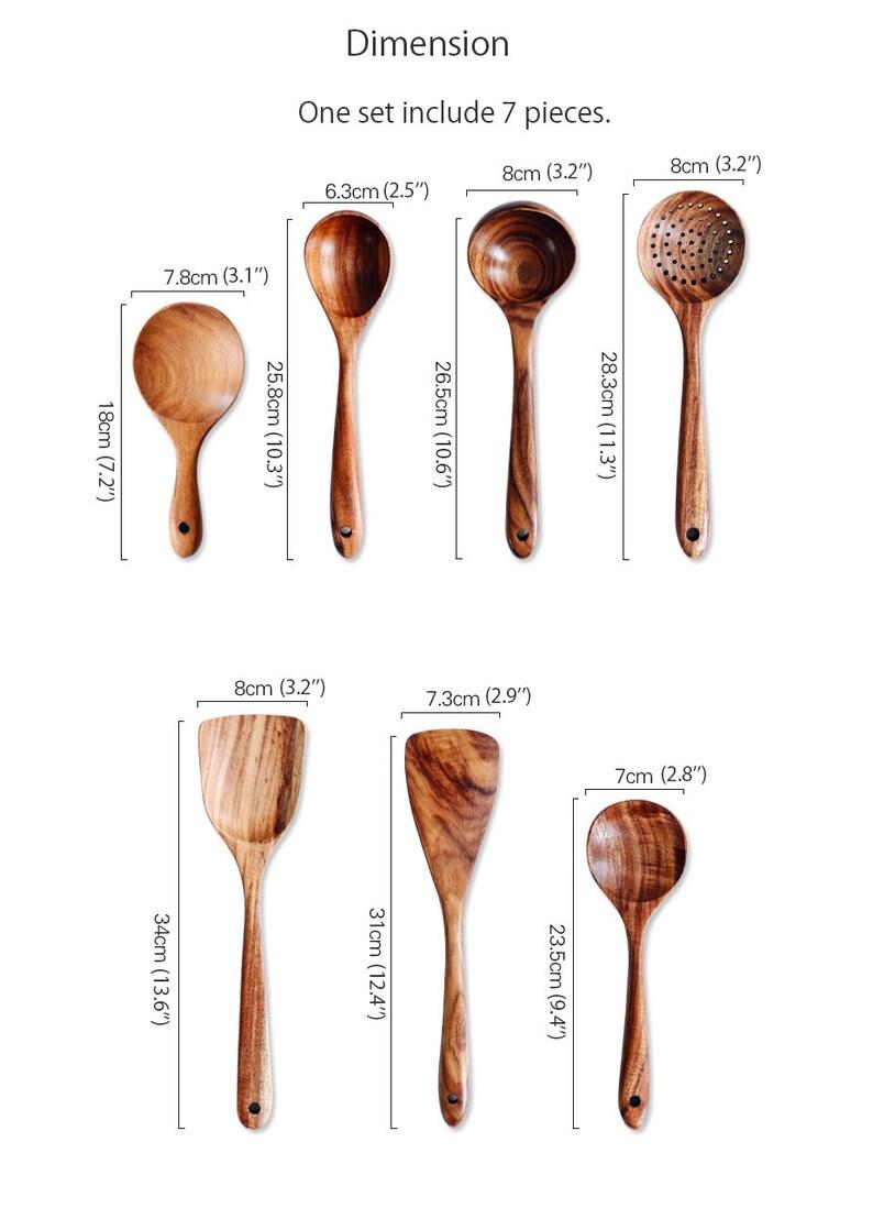 Custom 7-Piece Wooden Kitchen Utensil Set Cooking Utensils image 9