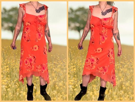 vintage fairycore ruffle asymmetrical floral dres… - image 1