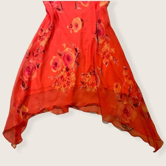 vintage fairycore ruffle asymmetrical floral dres… - image 6