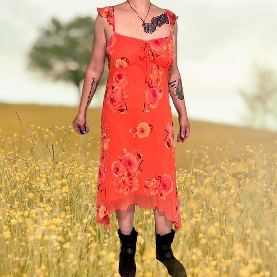 vintage fairycore ruffle asymmetrical floral dres… - image 2
