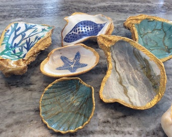 Trinket Dish Oyster Shell Jewelry Dish Ring Holder Large Cup Hand Painted Nautical Theme Decor