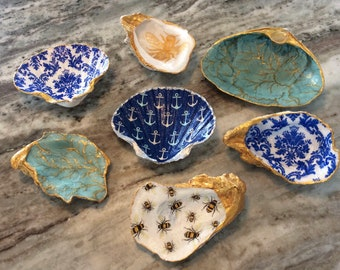 Hand Decorated Real French Oyster Shell Ring Dish or Tealight Holder Animal Print Shell Dish