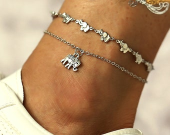 Large Anklet Elephant chain Plus Size anklet Ankle Jewellery Elephant Ankle chain Elephant Anklet Beach anklet Silver Plated Anklet