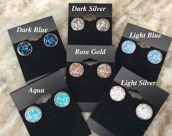 Comfort Stud Earring HYPOALLERGENIC 14mm Druzy Earrings Stainless Steel Lightweight (So Comfy You can sleep in them)