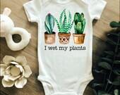 I Wet My Plants Onesie, Aloe Vera Cactus Onesie, Plant Baby Onesie, Boho Baby Clothes, Funny Baby Onesie