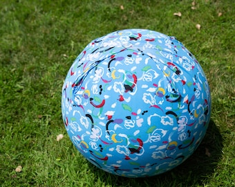 Ball Cover | Exercise | Yoga | Balance | Labor | Birth | Handle | Round | Blue with Colorful Paint Strokes