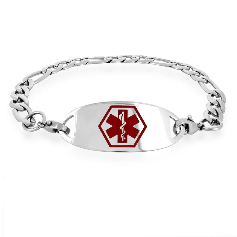 Medical Engraving Included MedicEngraved Surgical 316L Stainless Steel Medical ID 7mm Figaro Link Bracelet with Blue Enamel Medical Tag