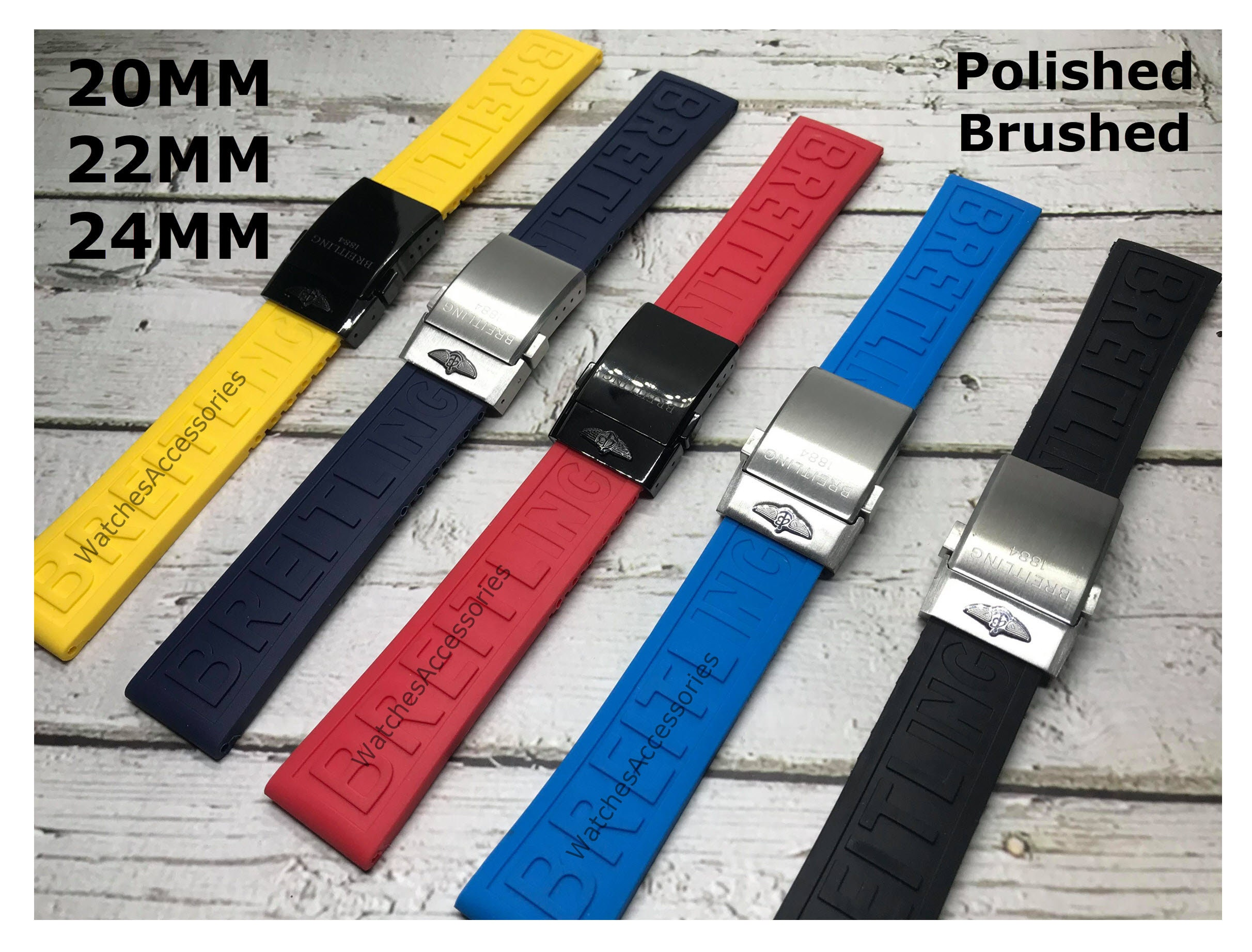 New 20/22/24mm BAND STRAP For Breitling High Quality Silicone Strap,Black,Dark Blue,Red band For Breitling Watch With Buckle With Buckle