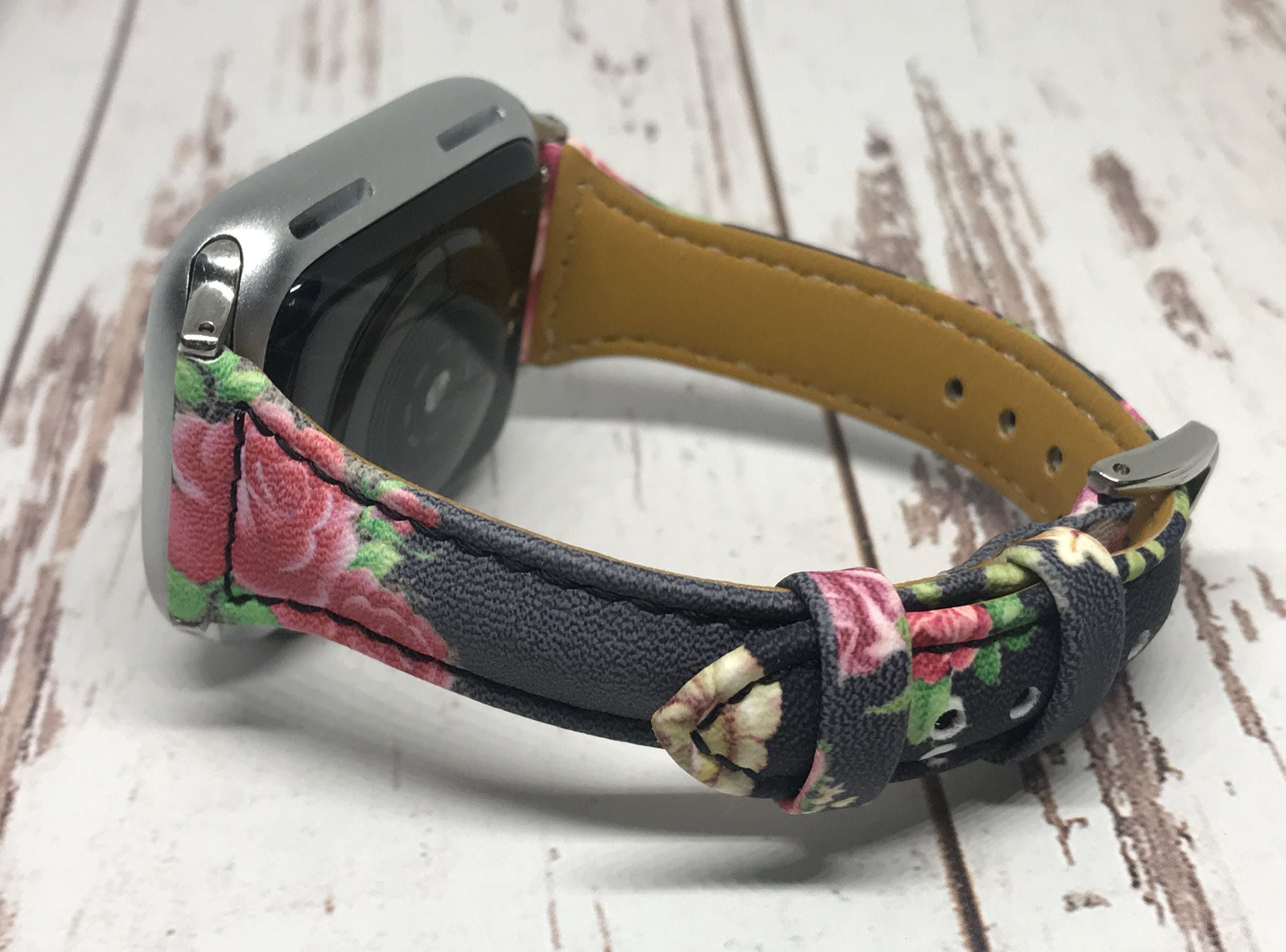 NEW RED Flowers Genuine Leather Apple Watch band, 38mm 40mm 42mm 44mm For Women, For Apple watch bands series 1 2 3 4 5 6