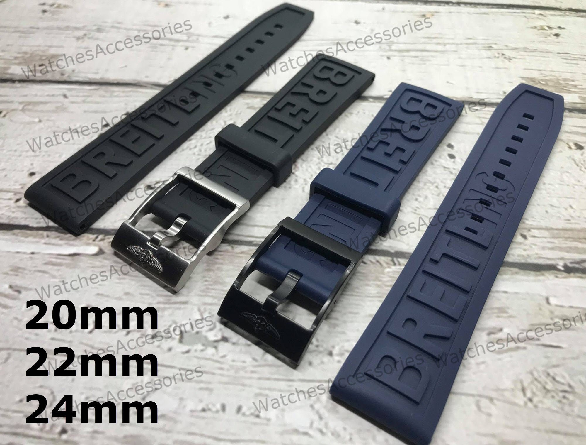 New 20mm/22mm/24mm BAND STRAP For Breitling High Quality Replacement Rubber Silicone Strap,Black band For Breitling Watch With Buckle breitl