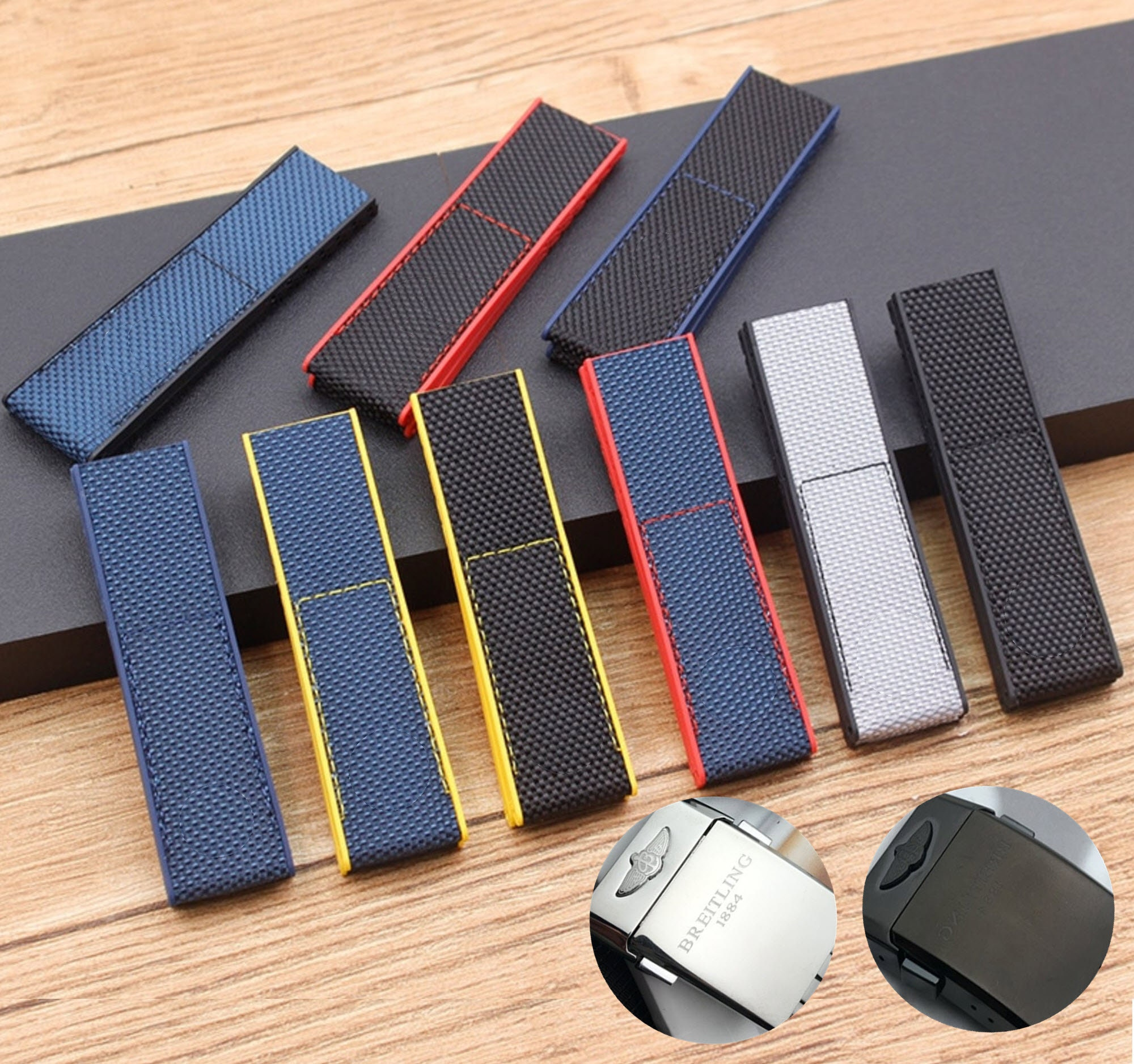 New 22mm Silicone Canvas Nylon STRAP For Breitling High Quality Replacement Strap, band For Breitling Watch With Buckle breitl