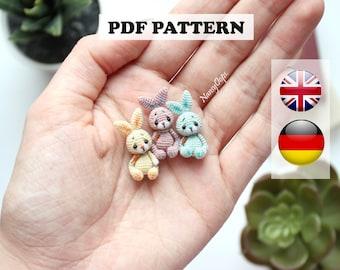 Crochet bunny pattern Häkelanleitung micro amigurumi pdf tutotial amigurumi bunny pattern by NansyOops
