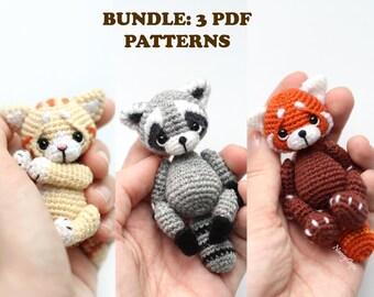 BUNDLE: 3 Crochet patterns Red Panda + Raccoon + Cat amigurumi pdf crochet patterns cat & raccoon pattern by NansyOops