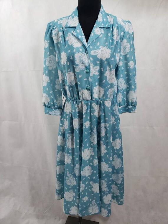California Looks 1980s Vintage Blue/White Dress