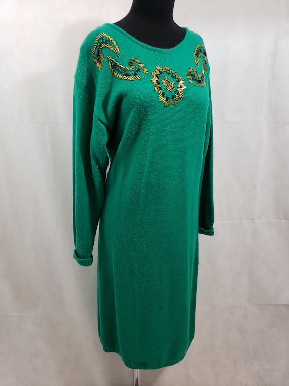 Green Sequin Vintage Sweater Dress/Tunic