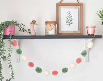 Sage Green Blush Pink and Cream Pom Pom Garland, Sage Green Blush Pink and Cream Pompom Garland, Nursery Accessories, Home Accessories