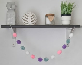 Blue and Pink Pom Pom Garland, Blue and Purple Pom Pom Garland, Blue and White Pom Pom Garland, Blue Wall Hanging, Blue Home Decor