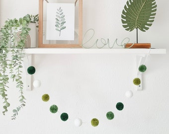 White and Green Pom Pom Garland, White Wall Hanging, White Home Decor