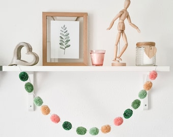 Sage Green and Blush Pink Pom Pom Garland, Sage Green and Blush Pink Pompom Garland, Nursery Accessories, Wall Hanging, Home Accessories