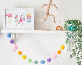 Pastel Rainbow Pom Pom Garland, Pastel Rainbow Pompom Garland, Rainbow Accessories, Nursery Accessories, Home Accessories, Wall Hanging
