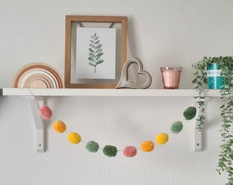 Green and Pink Pom Pom Garland, Green and Yellow Pom Pom Garland, Green and Orange Pom Pom Garland, Green Wall Hanging, Green Home Decor