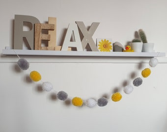 Grey Yellow and White Pom Pom Garland, Grey Yellow and White Pompom Garland, Nursery Accessories, Home Accessories, Wall Hanging