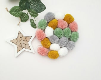 Green Pink Grey and White Pom Pom Garland, Green Pink Grey and White Pompom Garland, Nursery Accessories, Home Accessories, Wall Hanging