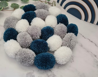 Grey Teal and White Pom Pom Garland, Grey Teal and White Pompom Garland, Nursery Accessories, Home Accessories, Wall Hanging