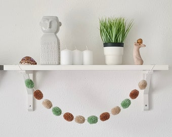 Brown Sage Green and Cream Pom Pom Garland, Brown Sage Green and Cream Pompom Garland, Nursery Accessories, Home Accessories, Wall Hanging