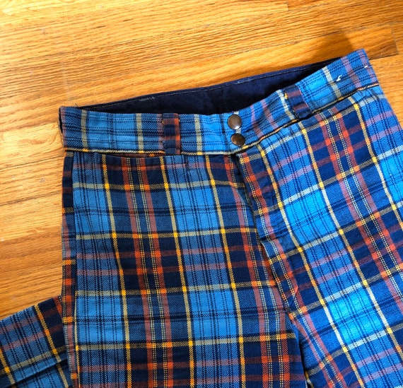 UNISEX FLARES 1970s Blue, Red, and Yellow Plaid -