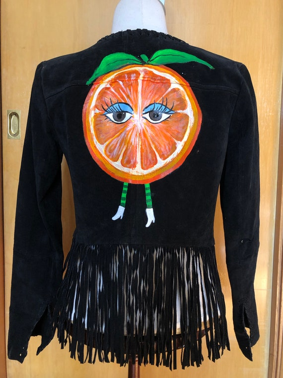 1970s Hand-Painted Black Suede Jacket with Fringe