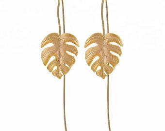 MONSTERA - Leaf plant drop wire earrings boho bride wedding monstera dainty gold leaf botanical earring unique jewelry 925 bridal gift