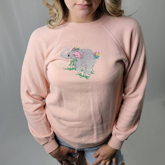 Vintage 90's Cottagecore Crochet Knit Sweatshirt - image 5