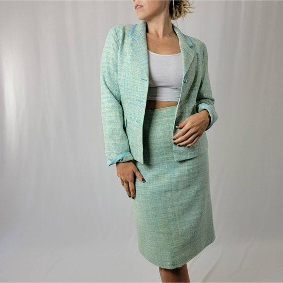 Vintage 70's Mint Green PENDLETON Skirt Suit Set - image 1