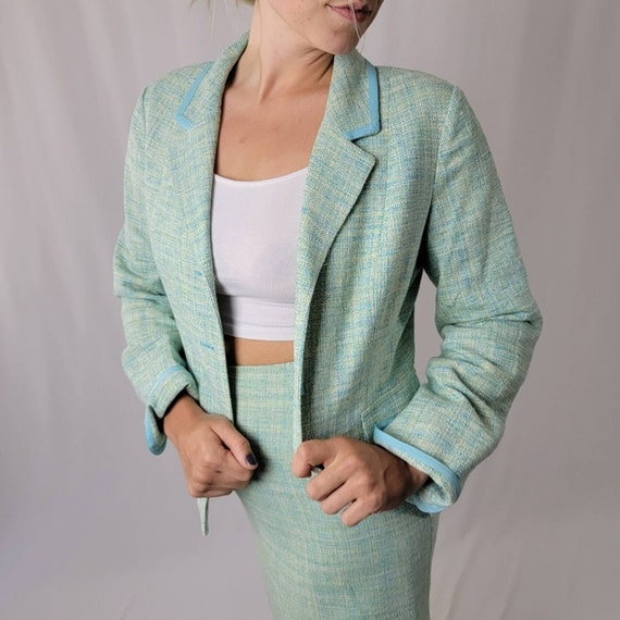 Vintage 70's Mint Green PENDLETON Skirt Suit Set - image 3