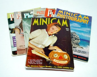 7 Minicam Photography Magazines - for collectors - 1940's