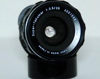 Pentax Super Takumar, M 42  f3.5 35mm Vintage Lens
