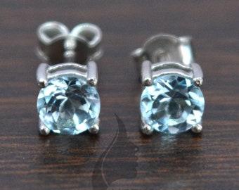 Sky Blue Topaz 7mm 2.95ctw Sterling Silver Drop Earrings
