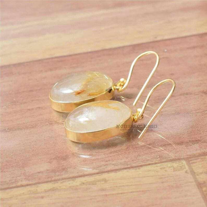 Elegant Earring Silver Earrings Drop Earrings For Her Handmade Gold Plated Oval Earrings Natural Golden Rutile Gemstone Dangle Earrings