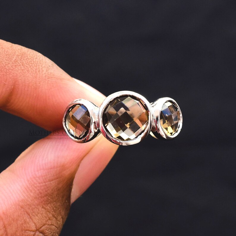 Silver Ring Three Stone Ring Handmade Solitaire Ring Christmas Gift For Women Round Natural AAA+ Grade Smoky Quartz Gemstone Silver Ring