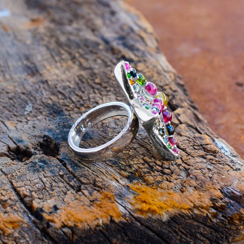 Cocktail Ring Star Gemstone Ring Precious Ring Natural Multi Tourmaline Ring Multi Stone Ring Silver Rings Princess Ring Vintage Ring