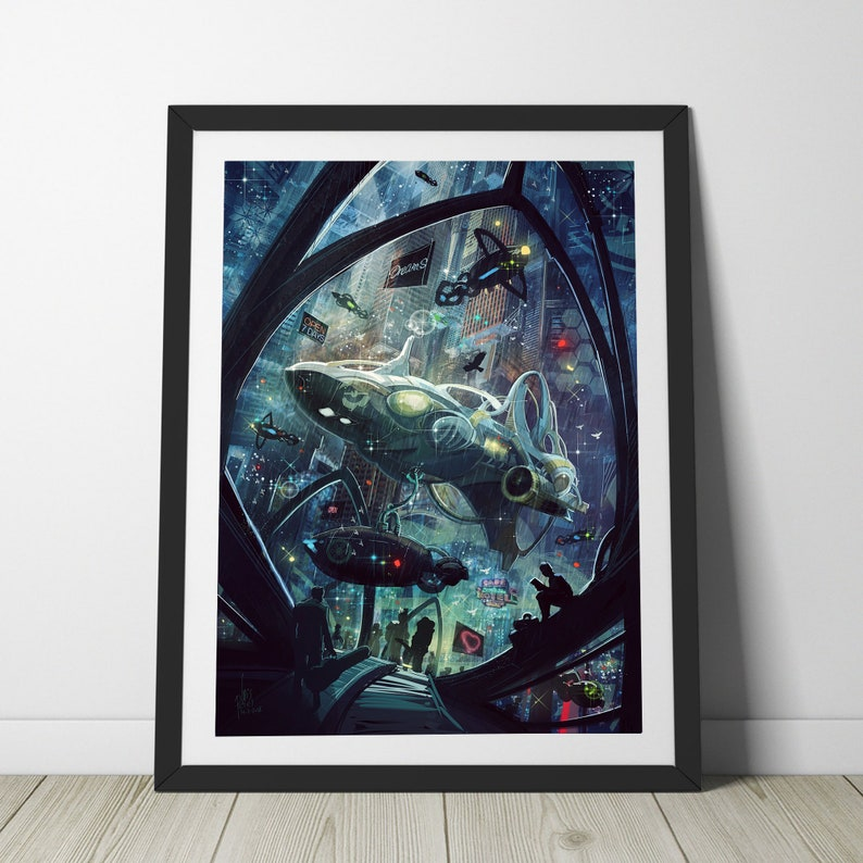Spaceport Gate to the Stars  downloadble art print romantic image 0