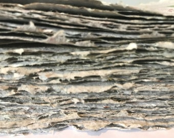Handmade Recycled Deckled Paper A5 x 10 Sheets