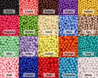 6mm 8mm 10mm Acrylic Round Beads 21 Colors - Round Acrylic Balls - Gumball Beads - Acrylic Bubblegum Beads - Plastic Resin Beads - Kids Bead