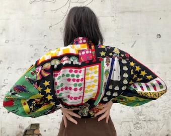 size M-L women\u2019s blouse hipster hippie boho Vintage 80\u2019s colorful Button shirt Abstract floral geometrical pattern